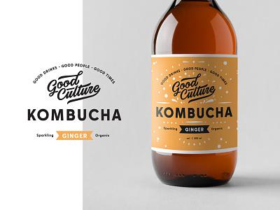 Kombucha branding bottle label lettering logo typography badge ginger amber kombucha drink fresh packaging