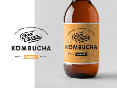 Kombucha branding bottle label lettering logo typography badge ginger amber kombucha drink fresh packaging