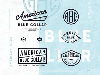 American Blue Collar label badge type typography logo branding monogram lettering abc bolt usa american