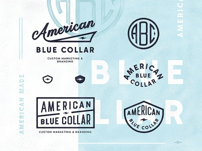American Blue Collar label badge type typography logo branding monogram lettering abc bolt usa american