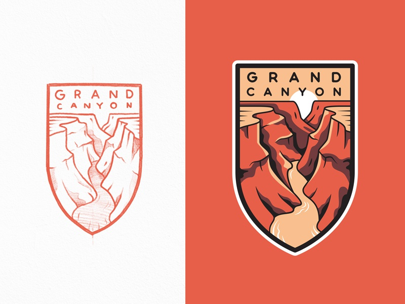 Grand Canyon National Park flat branding lineart logo crest grand canyon national park travel outline illustration badge typography