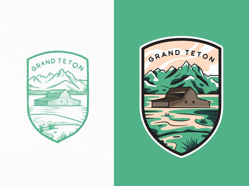 Grand Teton National Park adventures outdoor mountain grand teton national park flat branding logo travel line art outline illustration badge