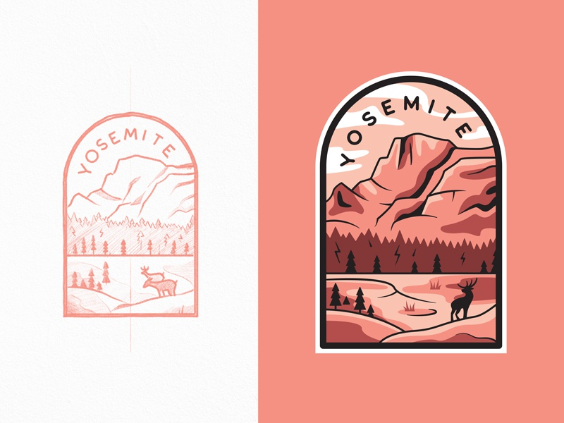 Yosemite National Park by Alex Spenser for The Faces on Dribbble