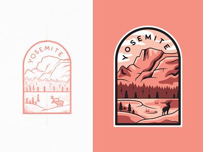 Yosemite National Park branding national park yosemite flat type travel line art outline illustration logo badge