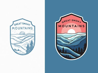 Great Smoky Mountains National Park national park great smoky mountains outdoors adventures travel lineart line art outline illustration logo badge typography