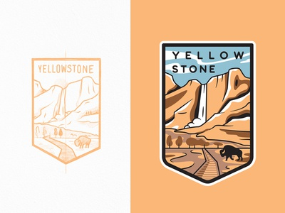 Yellowstone National Park sketch buffalo waterfall adventure yellowstone national park flat typography lineart travel line art branding outline illustration logo badge