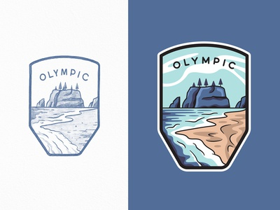 Olympic National Park outdoors beach coast ocean wave olympic national park lineart flat travel line art branding outline illustration logo badge typography