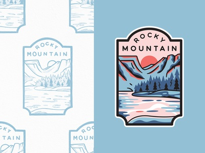 Rocky Mountain National Park hiking dream lake mountains outdoors adventures flat lineart type travel line art branding outline illustration logo badge typography