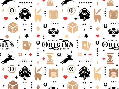 Origins Brand Pattern lucky fortune luck horseshoe time hourglass clubs diamonds hearts spades type playingcard donkey bunny rabbit origins poker pattern
