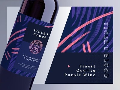 Tiger's Blood Winery typography lineart type line art illustration nature blood tiger abstract background pattern symbol mark badge logo brand branding packaging bottle wine