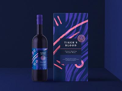 Tiger's Blood Packaging package bottle wine packaging pattern typography branding logo responsivebranding logomark symbol mark tiger blood