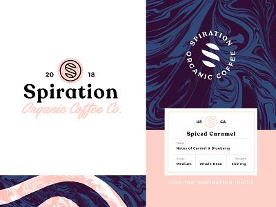 Spiration Branding coffee caramel wordmark logomark naming brand strategy brand identity packaging label vector design type branding logo badge