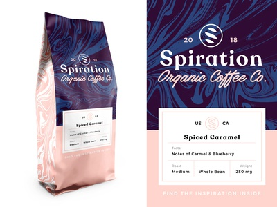 Spiration Packaging Design illustration caramel coffee liquify liquid label logo type word mark logo mark logo visual graphic design naming brand strategy brand identity branding packaging inspiration