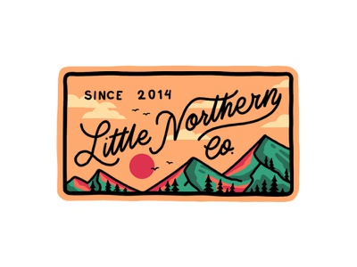 Little Northern Patch retro outdoors vintage script flat adventures outline lineart type illustration logo typography badge apparel forest lettering nomad northern travel patch