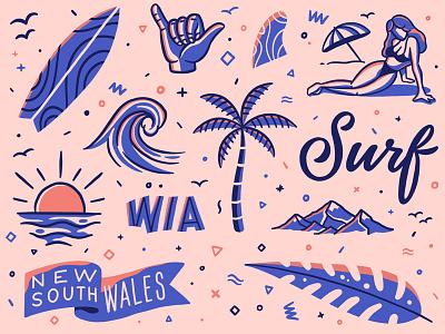 Surfer's Paradise adventures travel line art type outline illustration lettering typography leaf flag sunset mountains ocean wave surfboard fin girl palm surf pattern
