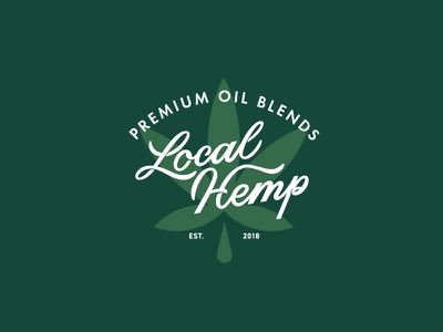 Local Hemp vector badge typography lettering logo branding hemp cannabis oil cbd