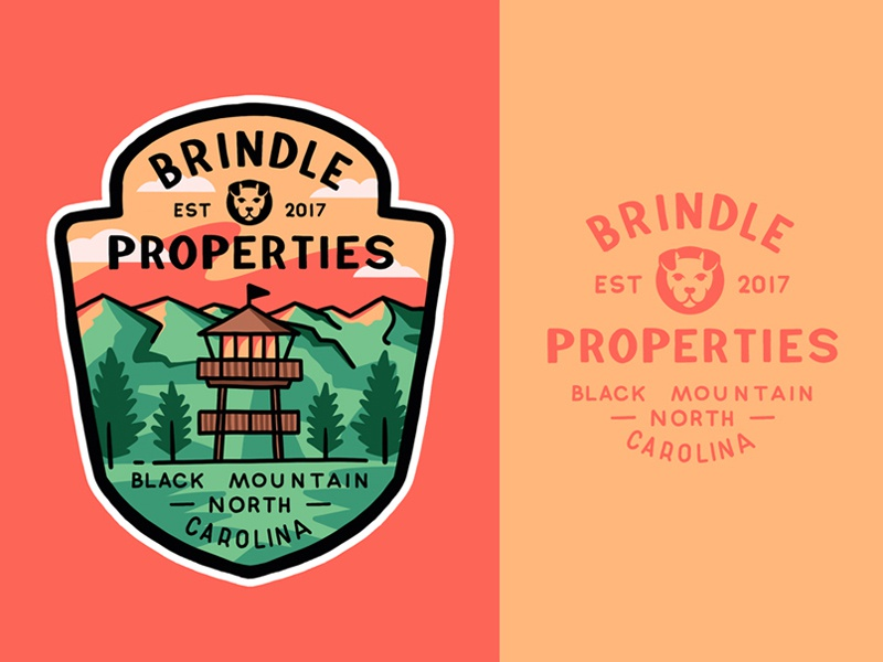 Brindle Properties typography badge lettering logo illustration outline branding type line art travel adventures outdoors design mountains brindley bulldog lookout tower