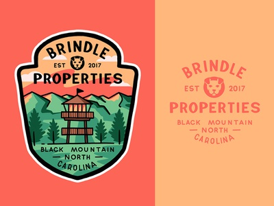 Brindle Properties typography badge lettering logo illustration outline branding type line art travel adventures outdoors design mountains brindley bulldog lookout tower