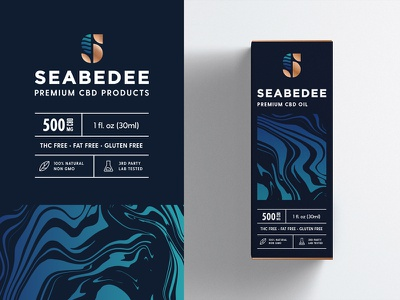 CBD Product Packaging Design high-end premium sea liquid pattern type typography clean monogram symbol mark brand identity logo branding cannabidiol oil cannabis hemp cbd packaging