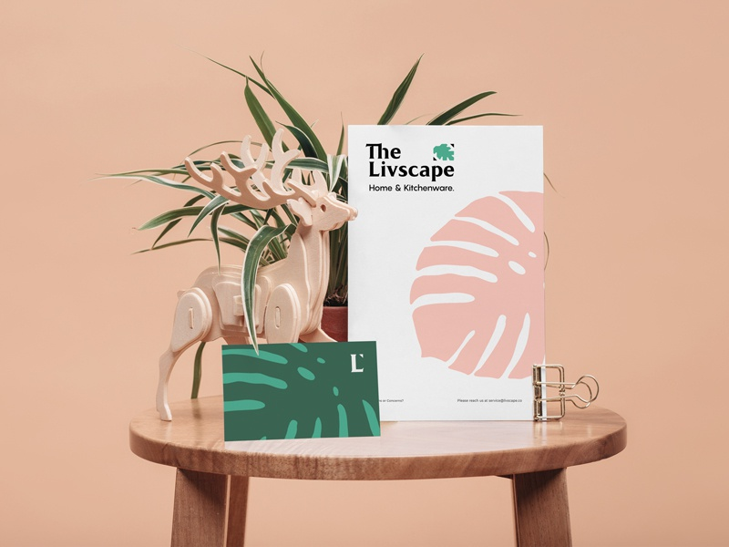 The Livscape Cards leaf leaves card stationery businesscard plant interior kitchenware homeware brand identity design type branding logo typography