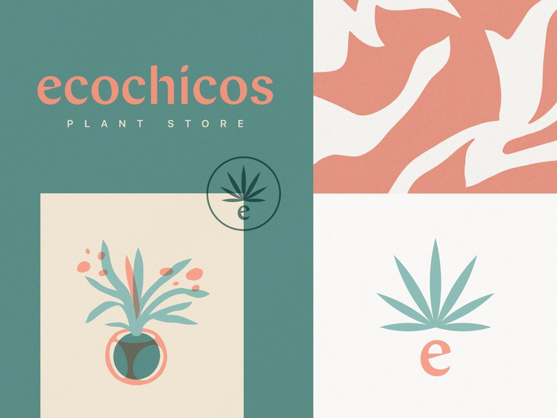 Ecochicos design type typography illustration logo mark logotype stamp visual brand palm plant plant store visual branding visual identity identitydesign packaging design brand identity branding logo