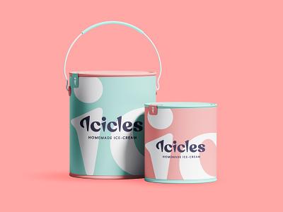 Ice-Cream Brand Concept sorbet bucket basket logotype brand identity cone pastel sweet kandy wallsign packaging icicles icecream branding typography type lettering logo