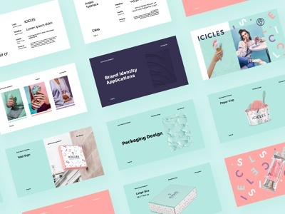 The Icicles Brand Identity Guidelines clean simple pastel type design typography icicles guidelines symbol mark logo icecream cone cup box packaging brand identity branding