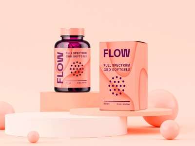 FLOW Packaging Concept logotype logo anxiety relief relax bloom peach pastel package box bottle capsules softgels packagingdesign identity packaging brand identity branding flow