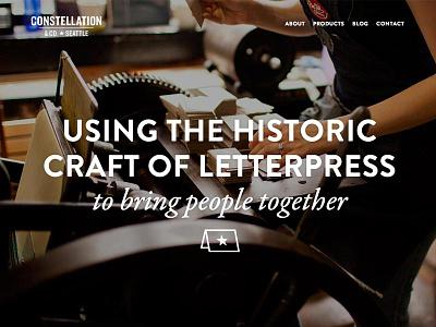 Constellation & Co. constellation site redesign letterpress