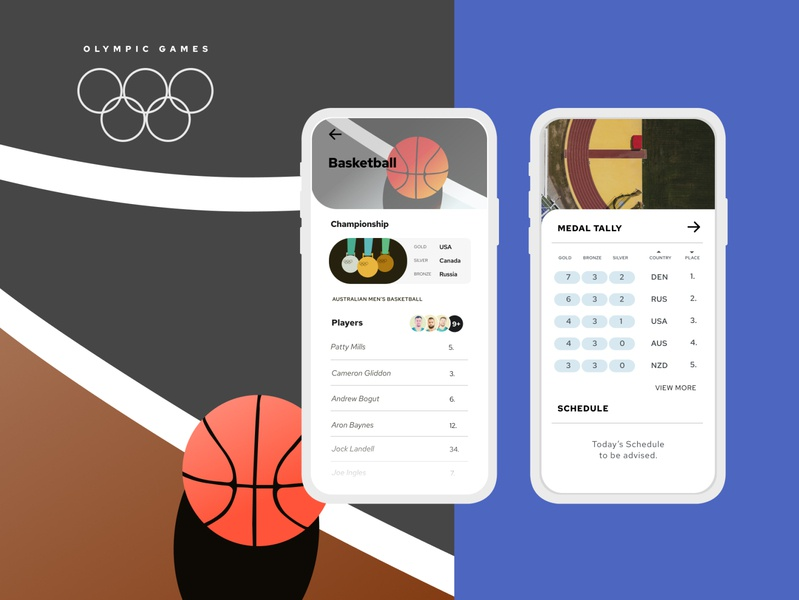 Olympics Pt.3 A medals basketball olympic games olympics figma ui illustration colour design