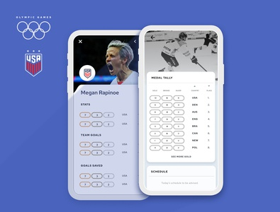 Olympics Medal Tally & USA Women's Soccer Combo olympics app uidesign figma brand ui illustration typography design colour
