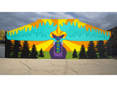 Morty the Moose nature teal purple painting spray paint color illustration moose mural