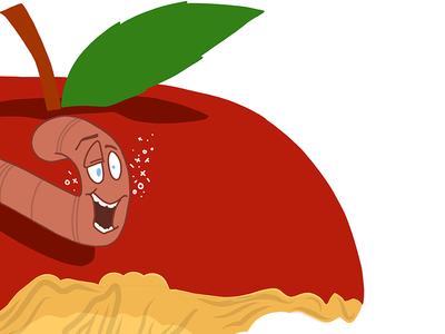 Drunk Worm core drink drunk fruit digital art vector apple worm illustration