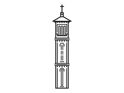 Steeples Icon #2 building architecture cross tower church iconography drawing vector icon steeple