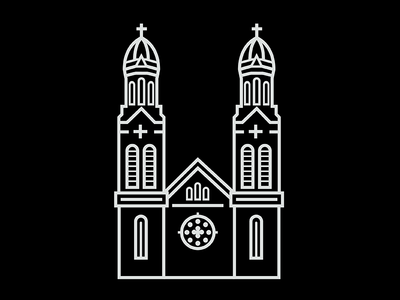 Steeple Icon #3 building architecture cross tower church iconography drawing vector icon steeple