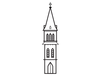Steeples Icon #4 vector tower steeple iconography icon drawing cross church building architecture