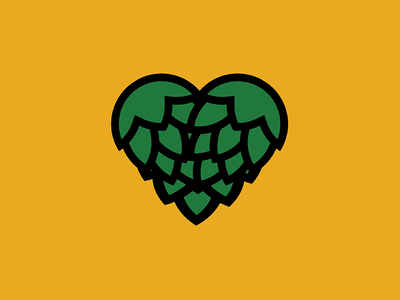 Hoppy Heart Icon brew graphic design art vector drawing hops beer icon logo