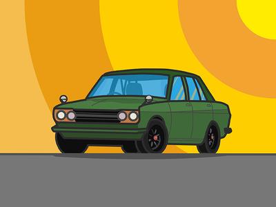 510 green tires wheels sunset transportation vehicle car illustration vector art datsun