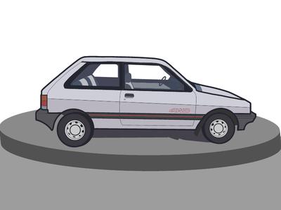 Justy old school retro wheels drive vector illustration car vehicle subaru justy