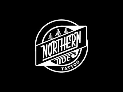 Northern Tide Logo badge trees tide illustration vector logo tattoo northern tide