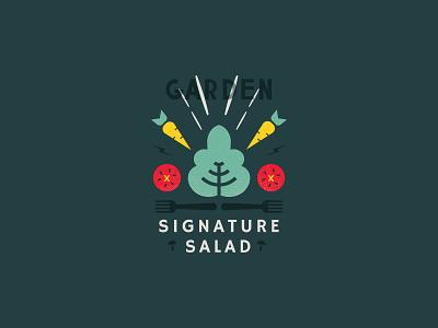 Salad vegan garden salad veggies branding simple icon illustration
