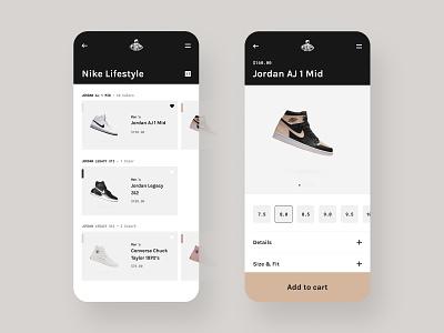 UI Concept details card results gallery chicago mobile footlocker foot locker web