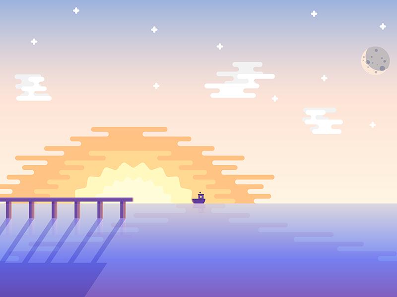 Sunset boat dbbb