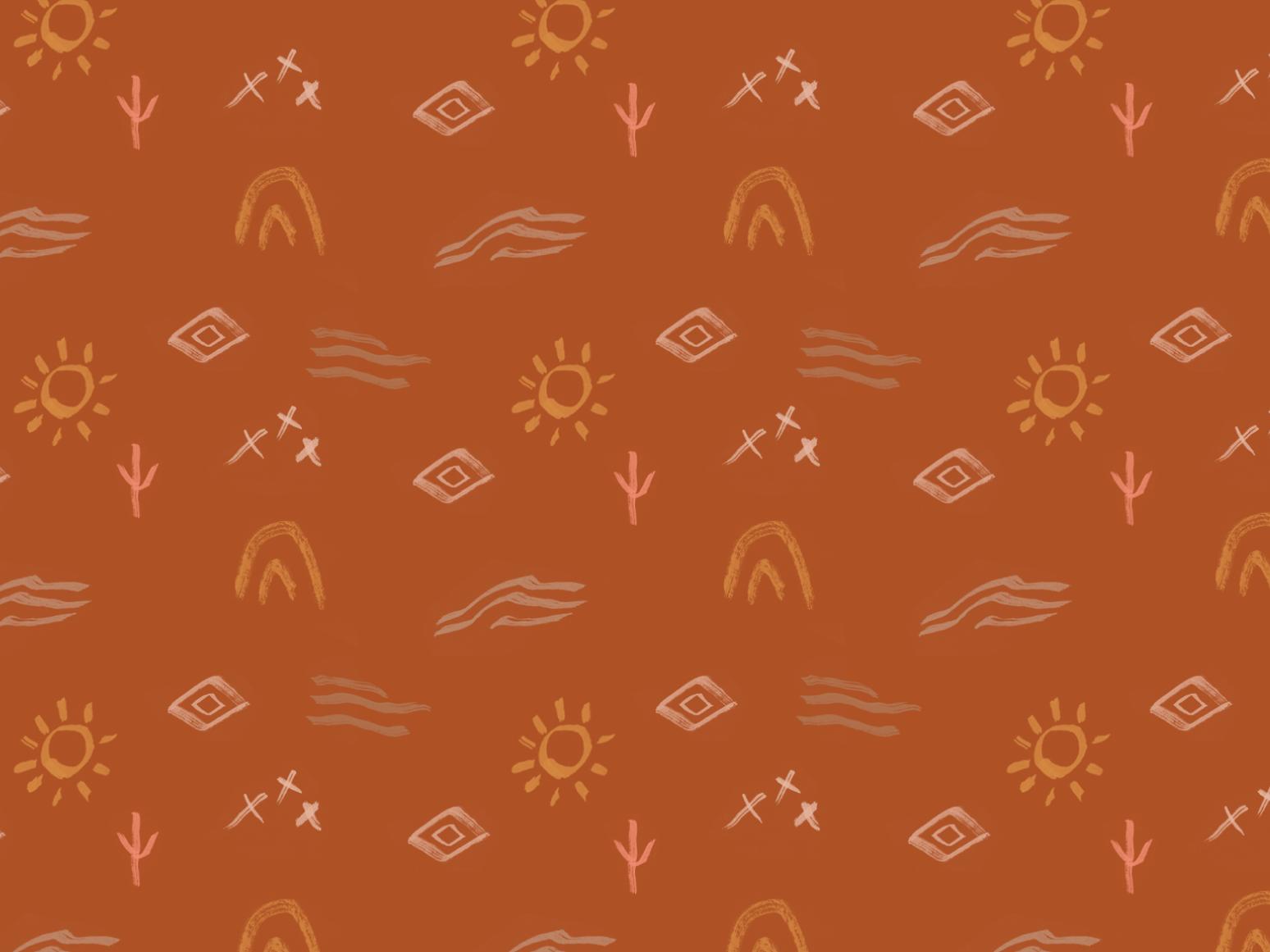 Desert inspired wallpaper joshua tree hand crafted wallpaper design feminine boho organic hand drawn illustration desert wallpaper