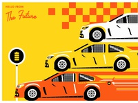 """Postcard from the Future - """"Nascard"""" checker illustration design fiction future finish line stripes cars racing postcards from the future fusion energy electric vehicles stock car racing stock cars nascar"""