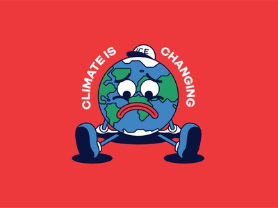 Baby Blue - Climate is Changing brand vector activism mascot design design illustration think of the children blue baby blue ice cap mascot character sad climate crisis climate climate change earth sad earth