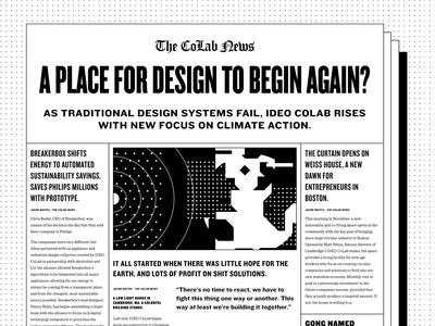 CoLab News CSS Grid template newsletter knockout type design columns periodicals 2025 design fiction fake stories fiction webdesign responsive css css grid website newspaper