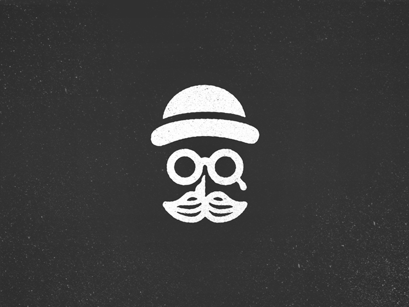 Death of a Salesman brand logo g bowler hat vintage retro vector minimal glasses moustache mustache