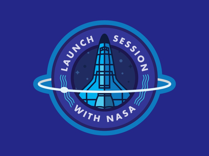 NASA Launch Session Badge get your ass to mars nasa stars moon blue illustration design vector badge shuttle space
