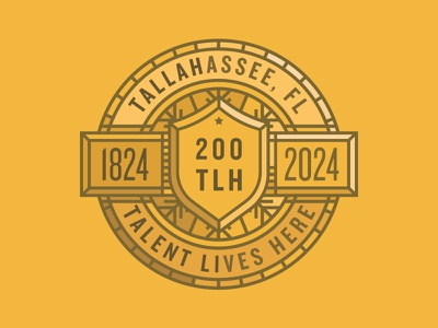TLH Bicentennial Coin flag brass badge design brand coin celebration years 200 bicentennial tlh tallahassee